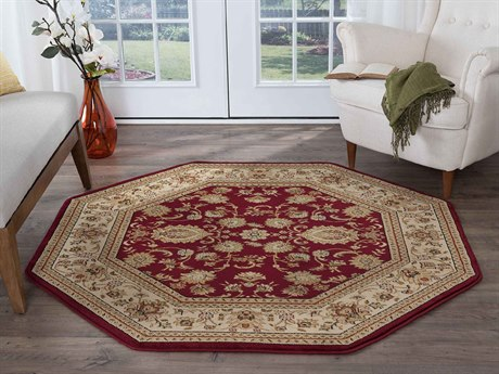 Tayse Rugs Sensation Gabrielle Red Octagon Area Rug