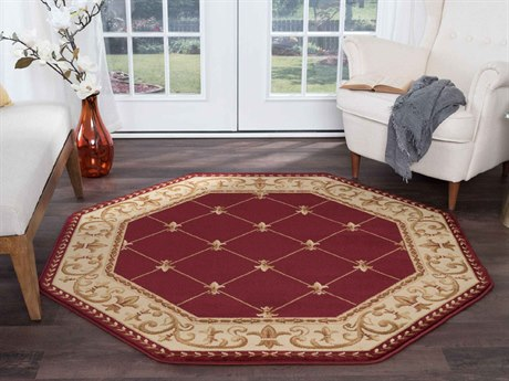 Tayse Rugs Sensation Orleans Red Octagon Area Rug