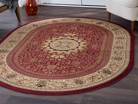 Tayse Rugs Sensation Jayden Red Oval Area Rug