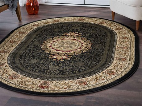 Tayse Rugs Sensation Jayden Black Oval Area Rug
