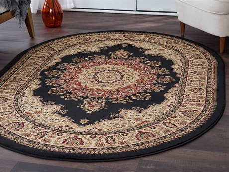 Tayse Rugs Sensation Fiona Black Oval Area Rug