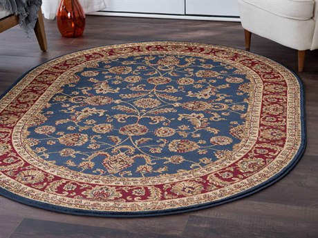 Tayse Rugs Sensation Sariya Navy Oval Area Rug