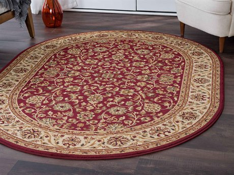 Tayse Rugs Sensation Ventura Red Oval Area Rug