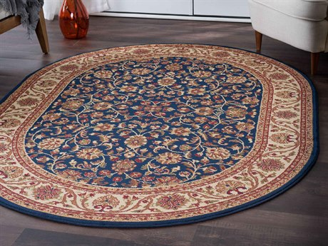 Tayse Rugs Sensation Ventura Navy Oval Area Rug