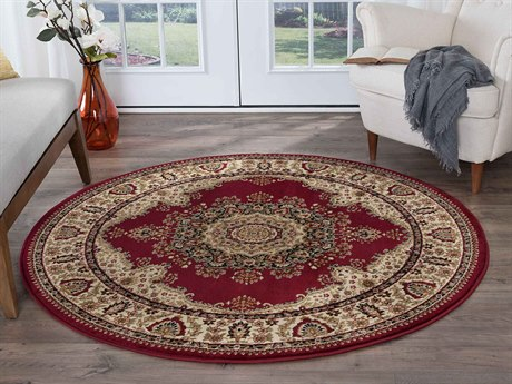 Tayse Rugs Sensation Fiona Red Round Area Rug