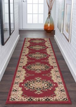 Tayse Rugs Sensation Fiona Red 2'3'' x 10' Runner Rug TASNS4700RUN