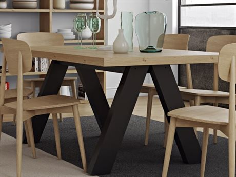 Temahome Apex Oak / Pure Black 79''W X 39''D Rectangular Dining Table TEM950061374