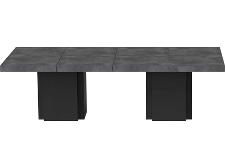 Temahome Dusk Concrete Look / Pure Black 102''W X 51''D Rectangular Dining Table
