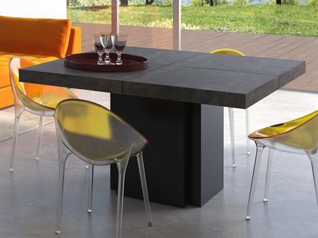 Temahome Dusk Concrete Look / Pure Black 59'' Wide Square Dining Table TEM9500613265