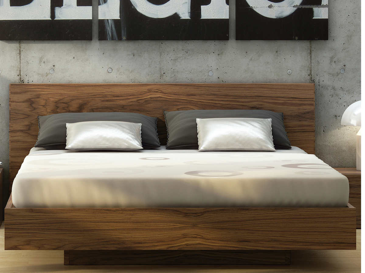 Temahome Float Walnut Queen Size Platform Bed Tem9500758522