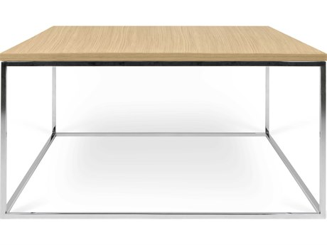 Temahome Gleam Oak / Chrome 30'' Wide Square Coffee Table TEM950062663