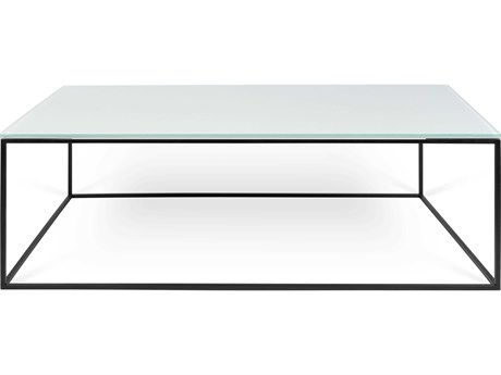 Temahome Gleam Glass / Black 47''W X 30''D Rectangular Coffee Table TEM9500628238