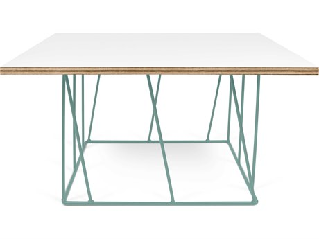 Temahome Helix Pure White / Sea Green 30'' Wide Square Coffee Table TEM9500626876