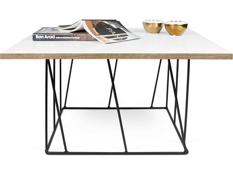 Temahome Helix Pure White / Black 30'' Wide Square Coffee Table