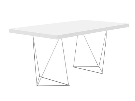 Temahome Multi Pure White / Chrome 63''W X 35''D Rectangular Dining Table