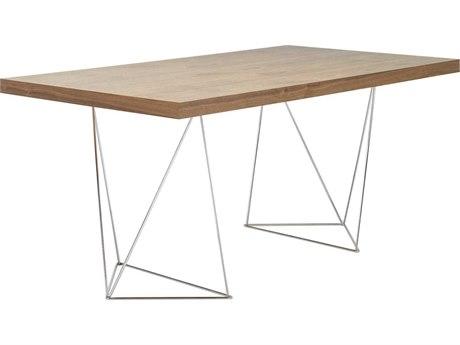 Temahome Multi Walnut / Chrome 71''W X 35''D Rectangular Dining Table