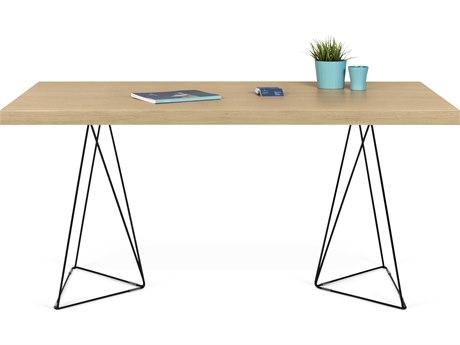 Temahome Multi Oak / Black 63''W X 35''D Rectangular Dining Table