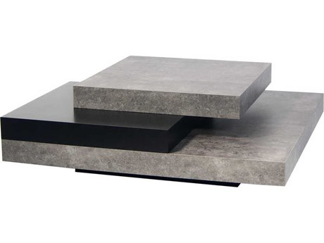 Temahome Slate Concrete Look / Pure Black 35'' Wide Square Coffee Table TEM9500627132
