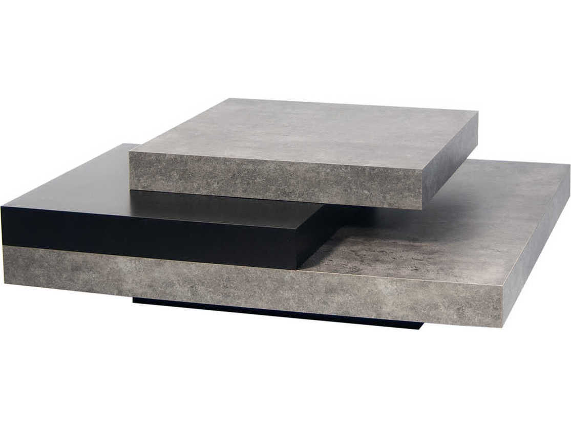 Temahome Slate Concrete Look Pure Black 35 Wide Square Coffee Table Tem9500627132