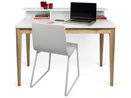 Temahome Xira Pure White / Oak 47''W X 24''D Rectangular Computer Desk