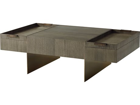 Theodore Alexander Quartered Oak / Basalt 52'' Wide Rectangular Coffee Table