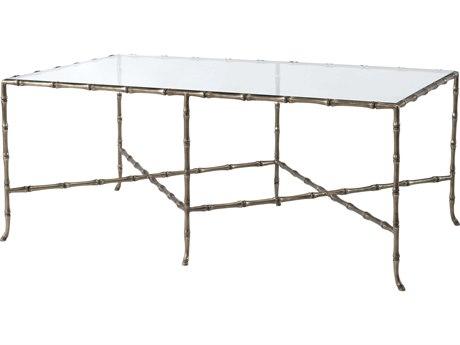 Theodore Alexander Glass / Brass 47'' Wide Rectangular Coffee Table