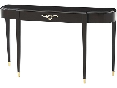 Theodore Alexander Ebonised Mahogany / Polished Brass 62'' Wide Demilune Console Table