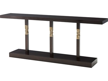 Theodore Alexander Espresso / Textured Brass 80'' Wide Rectangular Console Table