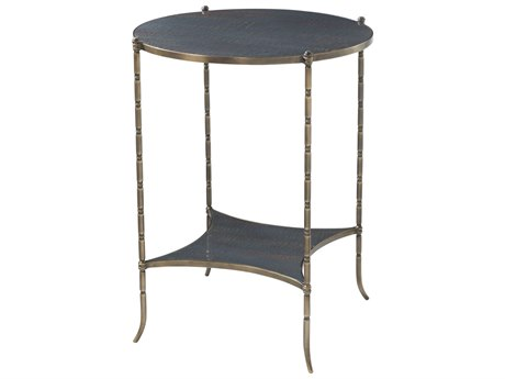 Theodore Alexander Grey Blue Lacquer / Brass 20'' Wide Round End Table