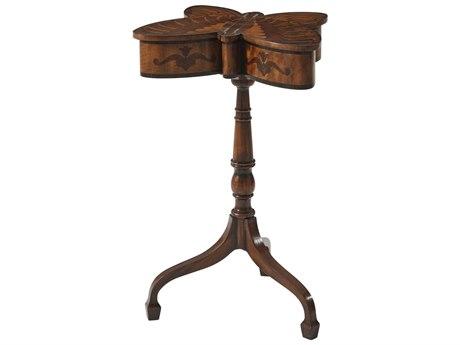 Theodore Alexander Flame Figured Veneer / Mahogany 17'' Wide Pedestal Table