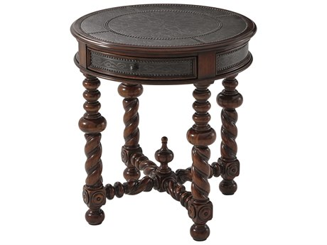 Theodore Alexander Mahogany / Brass 25'' Wide Round End Table