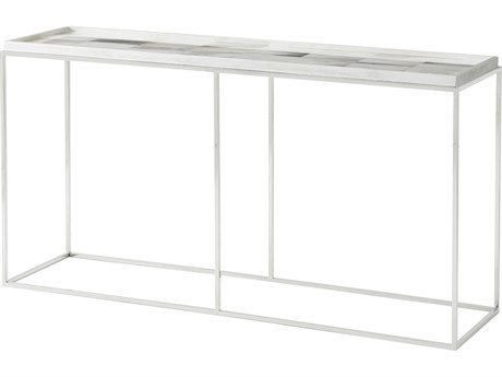 Theodore Alexander Faux Horn / Polished Stainless Steel 65'' Wide Rectangular Console Table