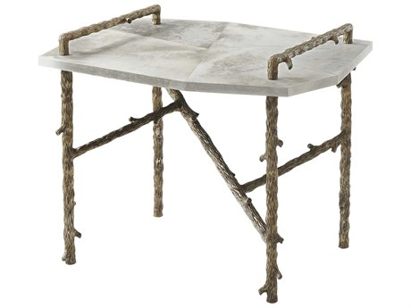 Theodore Alexander Grpahite Parchment / Bronze 33'' Wide Rectangular End Table