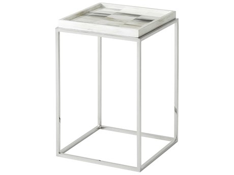 Theodore Alexander Faux Horn / Polished Stainless Steel 16'' Wide Square End Table