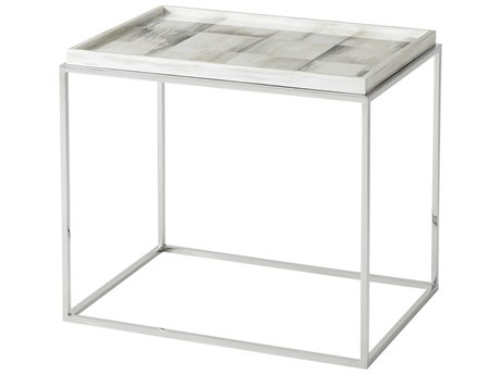 Theodore Alexander Faux Horn / Polished Stainless Steel 28'' Wide Rectangular End Table