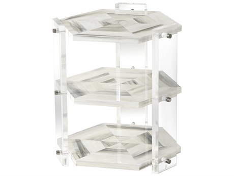 Theodore Alexander Faux Horn / Acrylic Polished Stainless Steel 22'' Wide Hexagon End Table