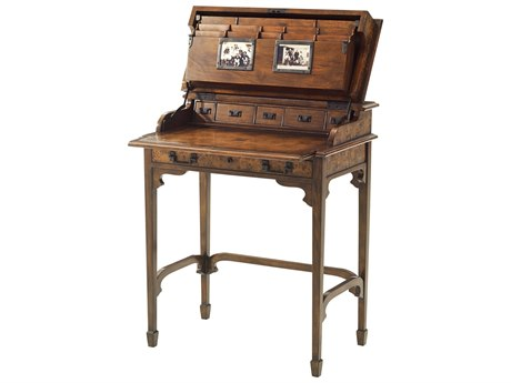 Theodore Alexander Poplar Burl Veneer / Acacia Secretary Desk