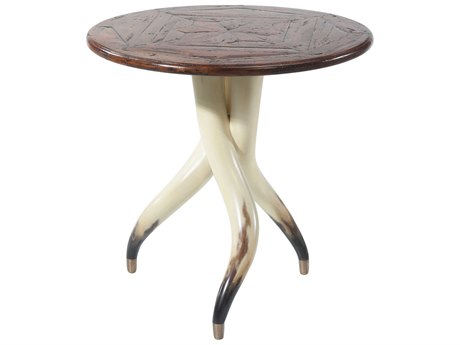 Theodore Alexander Mahogany / Faux Steer Horn Brass 26'' Wide Round End Table