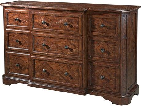 Theodore Alexander Mahogany / Brass Triple Dresser