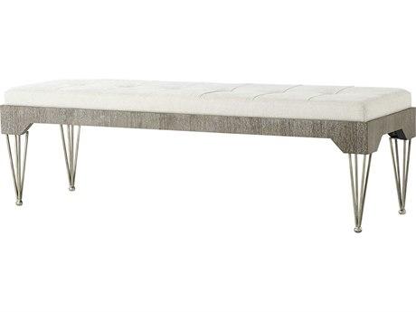 Theodore Alexander Cerused Oak / Spazzolato Steel Accent Bench