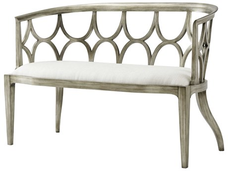Theodore Alexander Pewter Silver Accent Bench