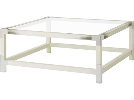 Theodore Alexander Tempered Glass / Longhorn White / Stainless Steel 44'' Wide Square Coffee Table TAL5102075