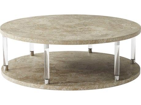 Theodore Alexander Figured Ash Veneer / Glass Stainless Steel 52'' Wide Round Coffee Table TAL5102082