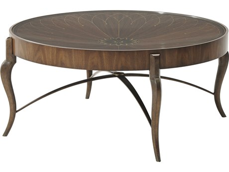 Theodore Alexander Satinwood Veneer / Iron Tempered Glass 46'' Wide Round Coffee Table