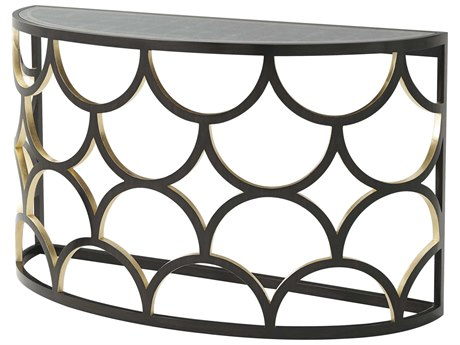 Theodore Alexander Silver Leaf Eglomise / Ebonised Gilt 54'' Wide Demilune Console Table