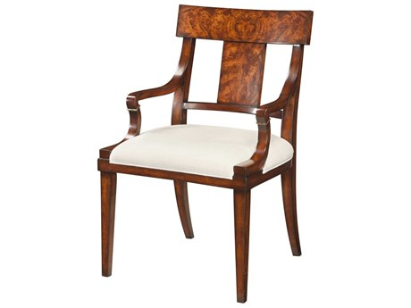 Theodore Alexander Flame Mahogany Veneer / Arm Dining Chair