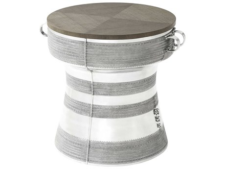Theodore Alexander Oak Veneer / Aluminum 23'' Wide Round Drum Table