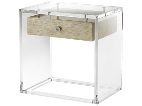 Theodore Alexander Acrylic / Suspended Silver Fall / Stainless Steel 26'' Wide Rectangular End Table TAL5051004