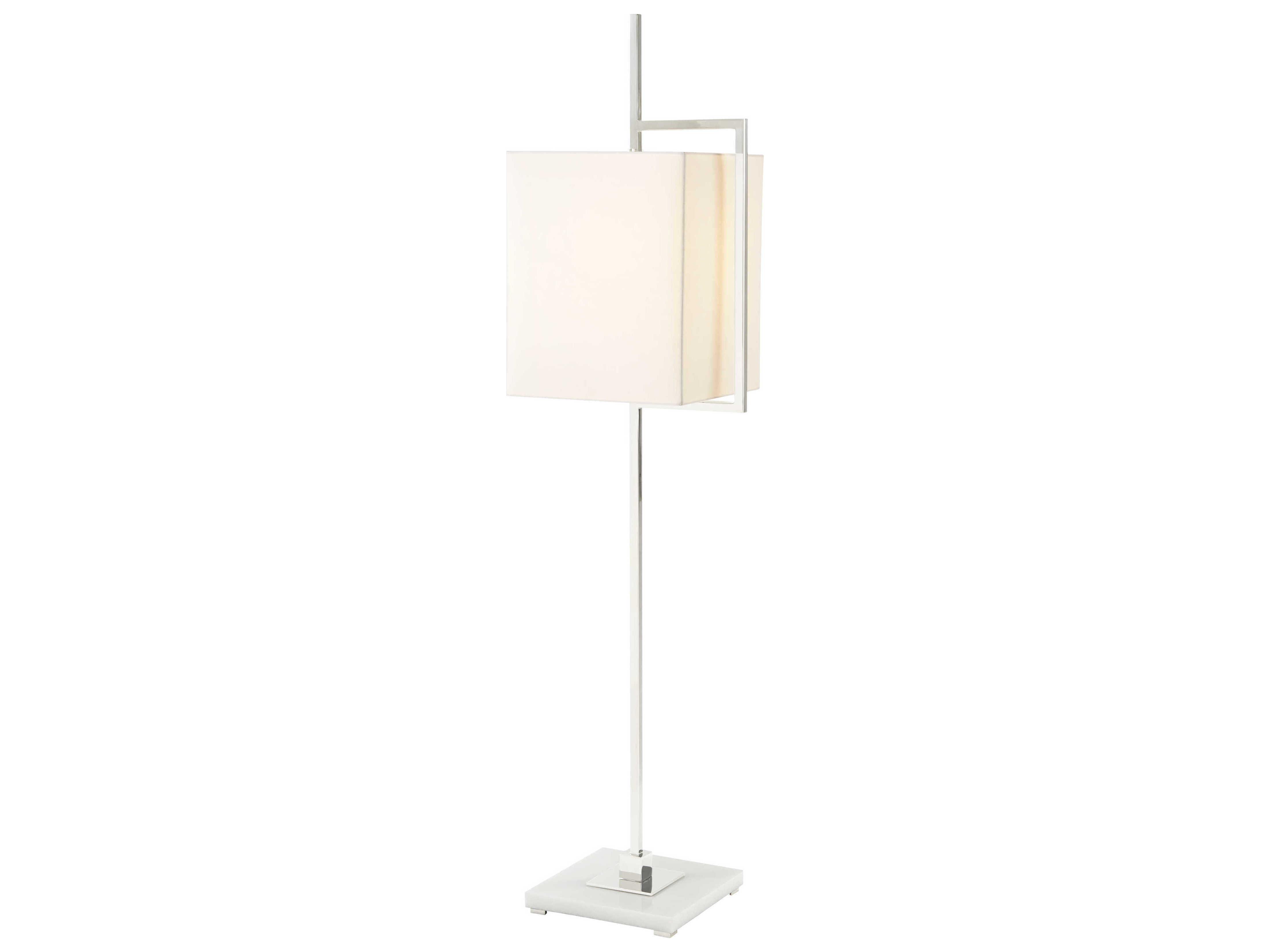 Theodore Alexander Stainless Steel White Onyx Floor Lamp