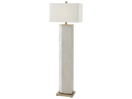 Theodore Alexander Faux Shagreen / Mother of Pearl Brass Floor Lamp